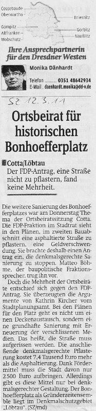Sächsische Zeitung vom 12.03.2011