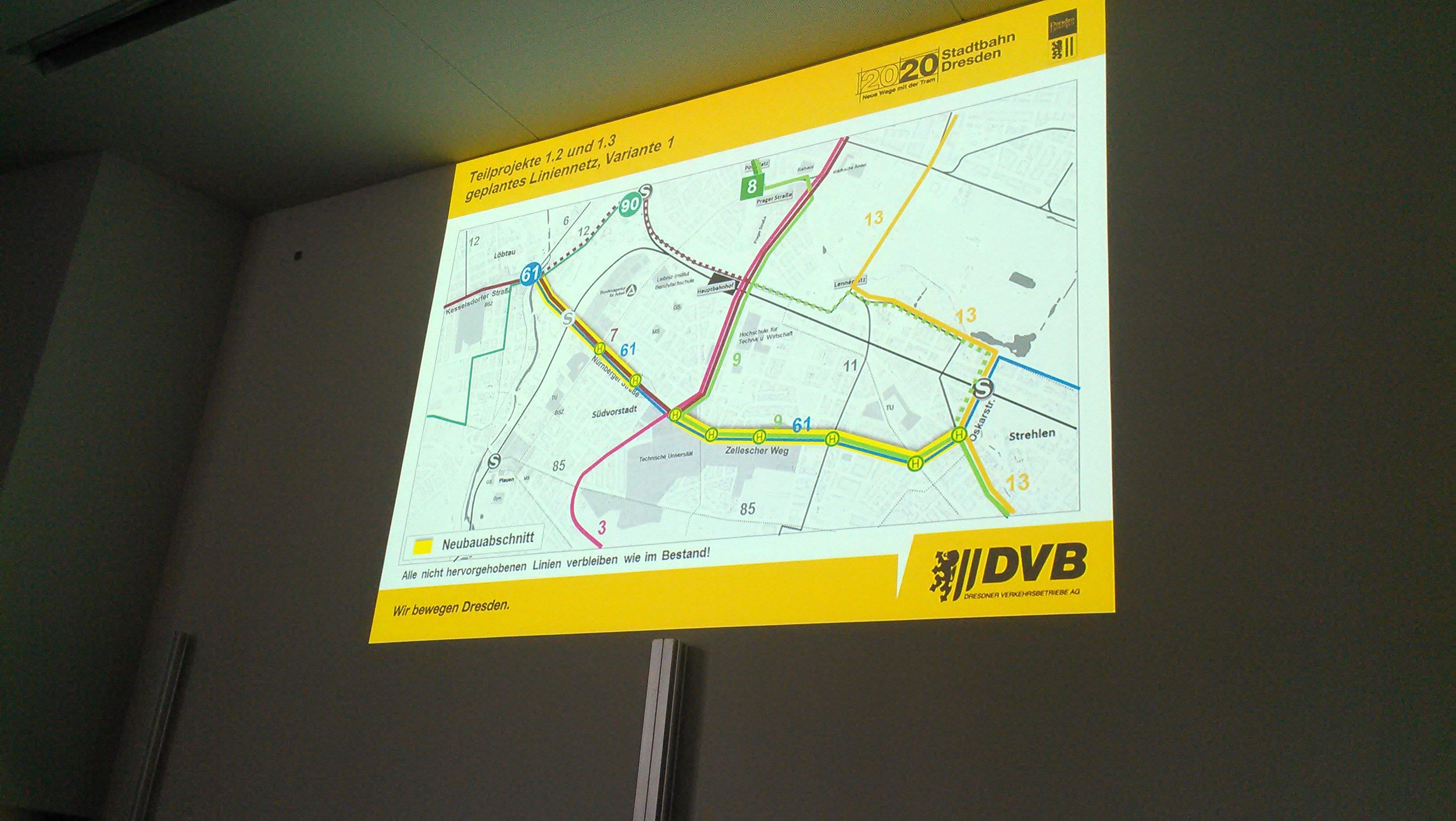 Linienführung der Stadtbahn 2020 über Nürnberger Platz und Zelleschen Weg