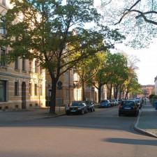 Poststraße noch mit großen Bäumen
