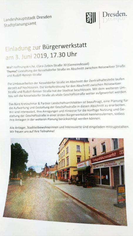 Flyer mit Text und Bild zur Bürgerwerkstatt