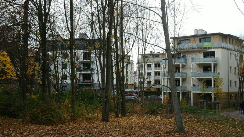 Der Wald auf der Seite der aktuellen Bebauung. Anwohner zeigen das Banner der BI.