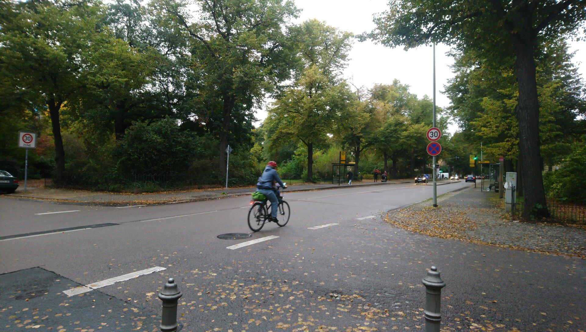 Reisewitzer Straße mit Fahrradfahrer und Tempo 30-Schild